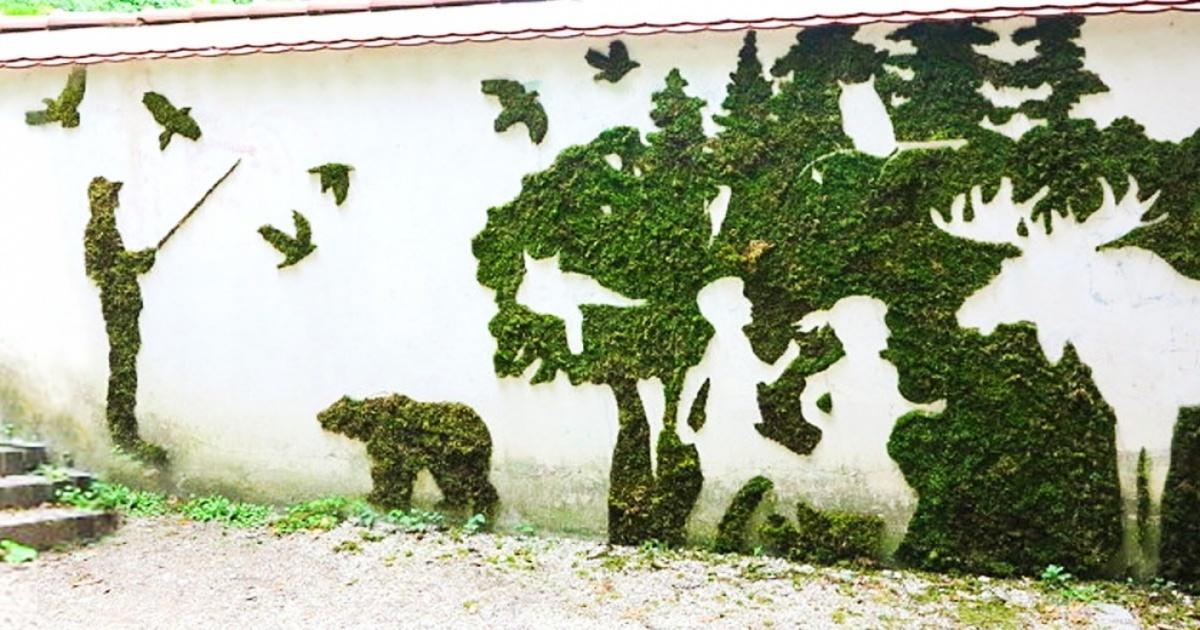 Рисунки и картины из мха: интересный эко-декор для интерьера